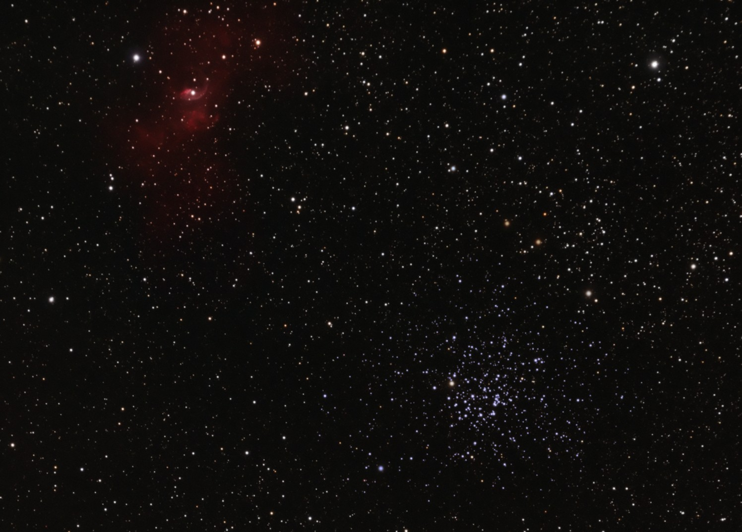 The Bubble Nebula and M52 star cluster
